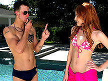 Amazing polka dot red head 18 year old bikini babe gets fucked by her swim in structor in these hot cum faced hard fuck pounding clips