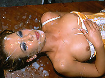 Hot and sexy Jamie getting 50 men release loads on her face