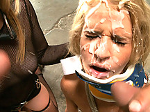 Madison has her mouth filled with a dental spreader, a speculum full of jizz and a double dose of cum!